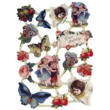 Victorian Happy Birthday Butterfly and Floral Scraps ~ Holland